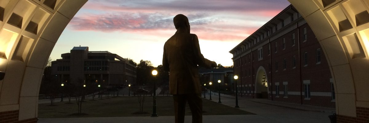 Frank Day Statue at dusk in Fall 2015